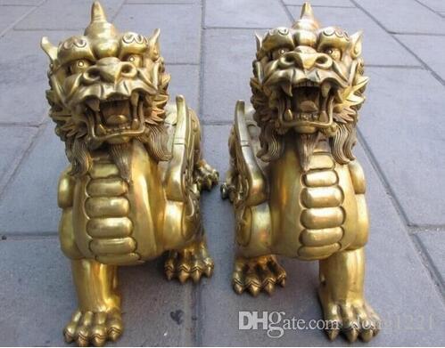 Cinese Pure Brass Talismano Fengshui Mal Door Fu Fu Foo Dog Lion Beast Kylin coppia