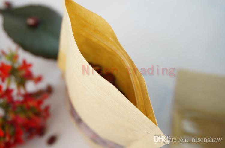 12 * 20cm cibo carta sacco-100 pz / lotto stand up carta artigianale cioccolato sacchetto a chiusura lampo con finestra-riutilizzabile bustina antipolvere ormosia, pacchetto di carta