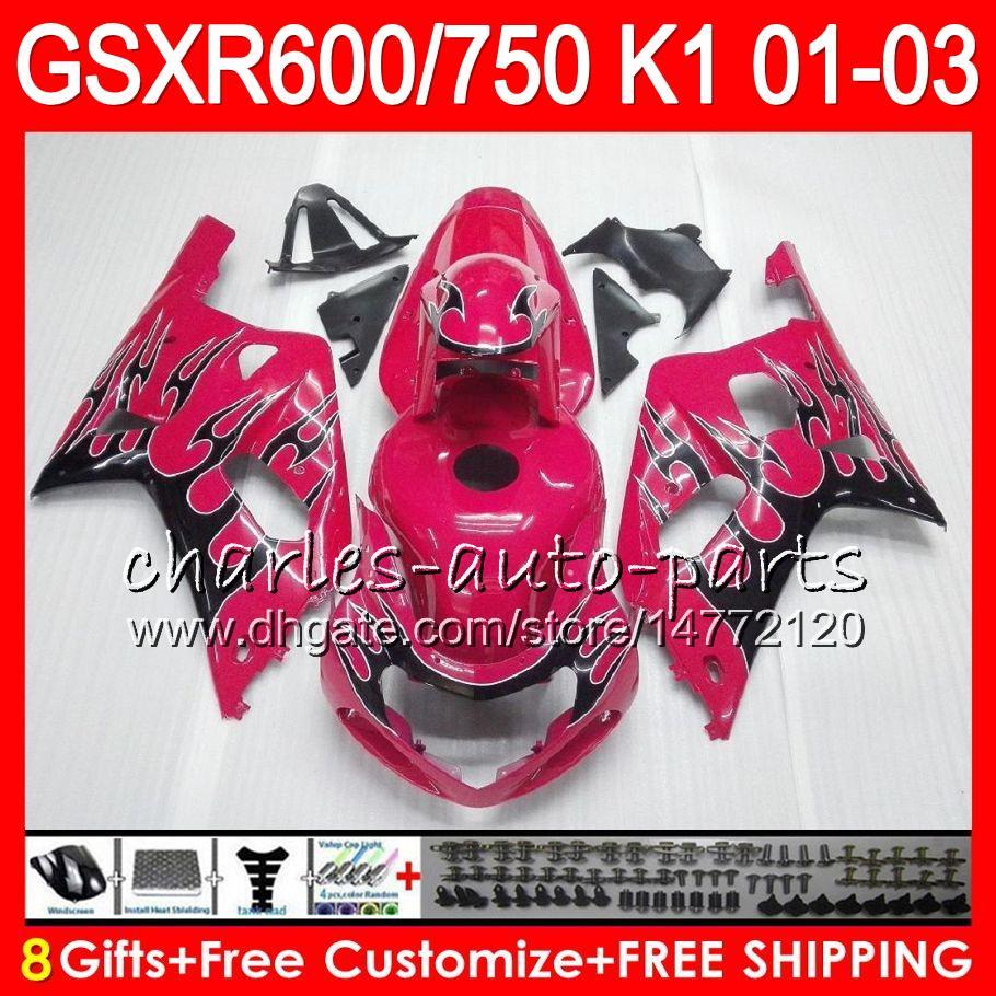 8 Geschenke 23 Farben Körper für Suzuki GSX-R600 GSXR600 GSXR750 01 02 03 8HM30 GLOSS ROSE GSX R600 R750 K1 GSXR 750 600 2001 2002 2003 Verkleidung