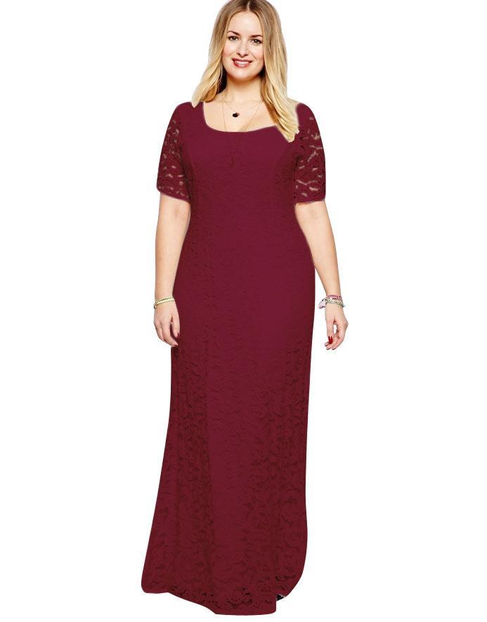 Wholesale 2017 Big Size Women Flower Lace Long Dress Plus Size ...