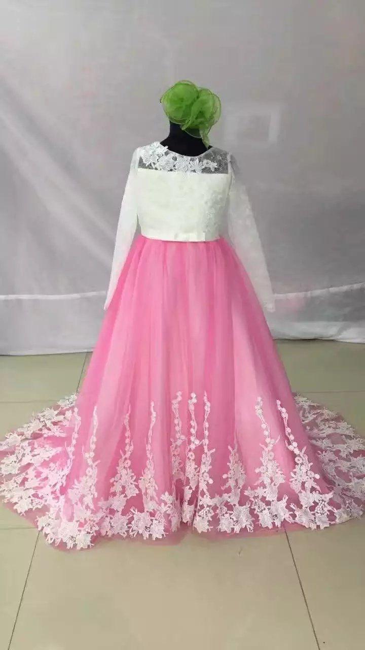 baa9d7306 Baby Girl Dress Long Sleeve Floor Length Court Train Lace Applique ...
