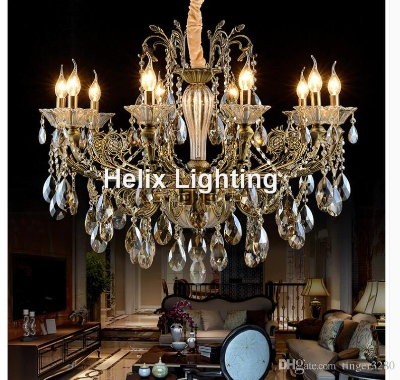 Livraison gratuite Bronze fini Antique Lustre en cristal Lingting luxe en laiton LED AC lampe en cristal Lustre éclairage de suspension