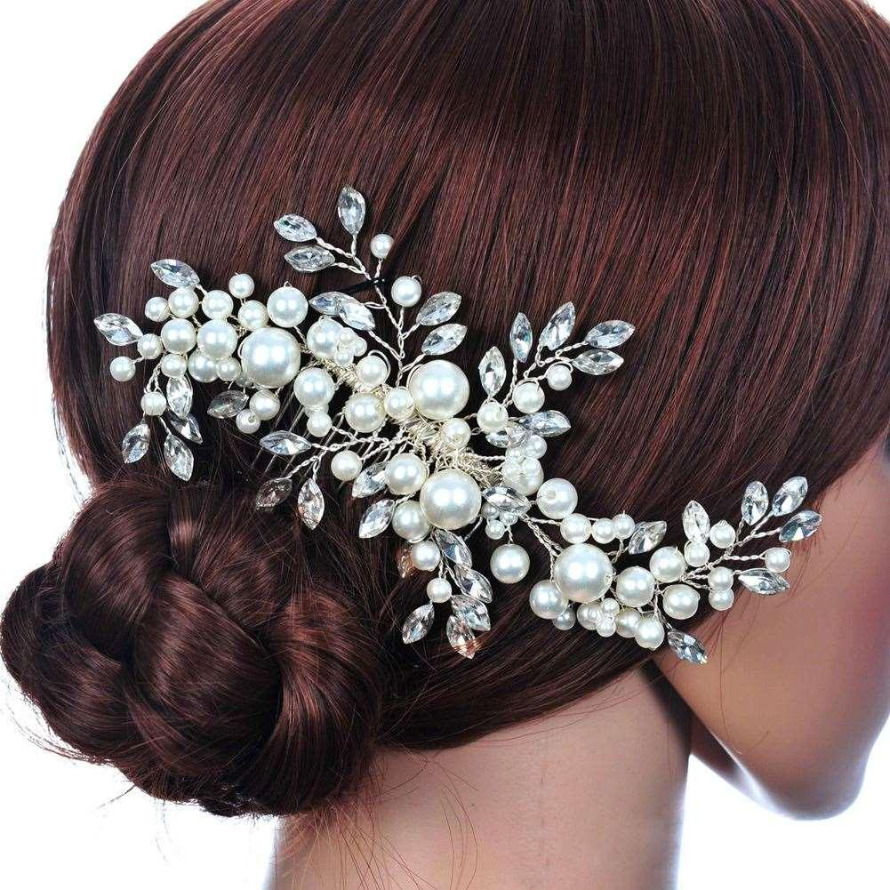 wedding hair accessories clips romantic crystal pearl flower hairpin