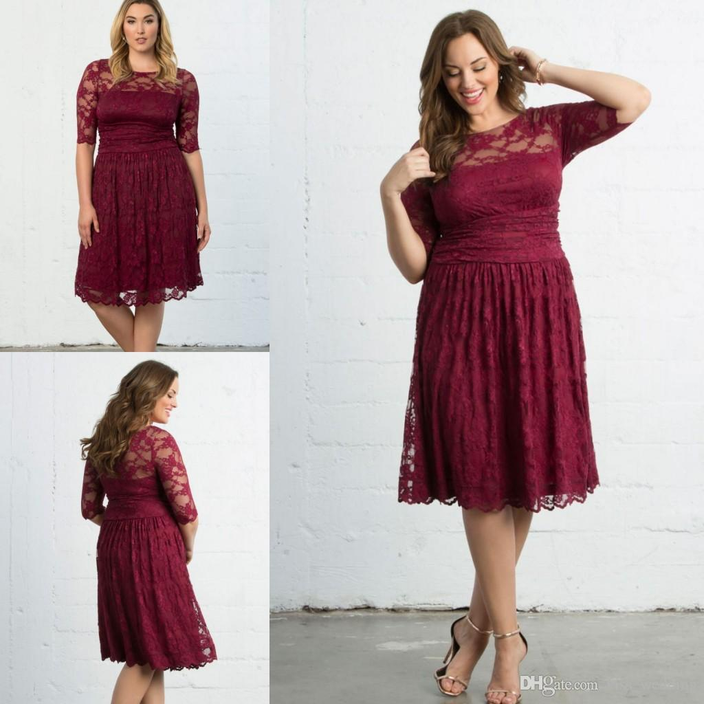 new arrival plus size short mother of the bride dresses burgundy