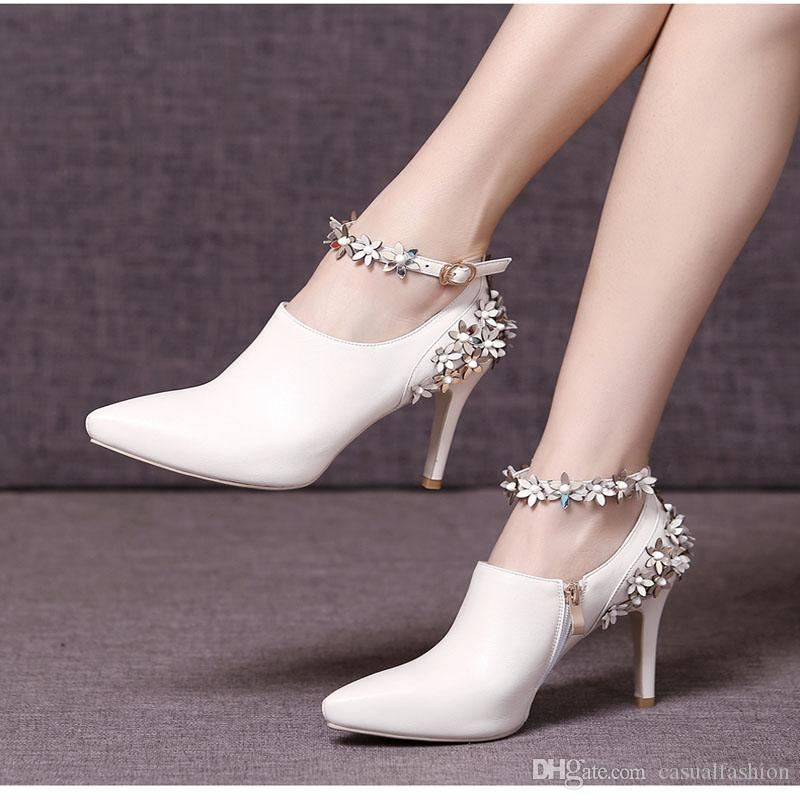 Newest Spring Flower Genuine Leather Wedding Shoes Bridal High Heels 8CM Party Shoes 3 Colors With Pointed Toe High Heel With High Quality