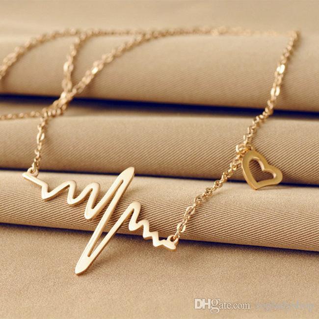 Moda basit notlar EKG kalp frekans köprücük kolye kalp hissediyorum kolye kazak kolye kadın toptan ücretsiz kargo