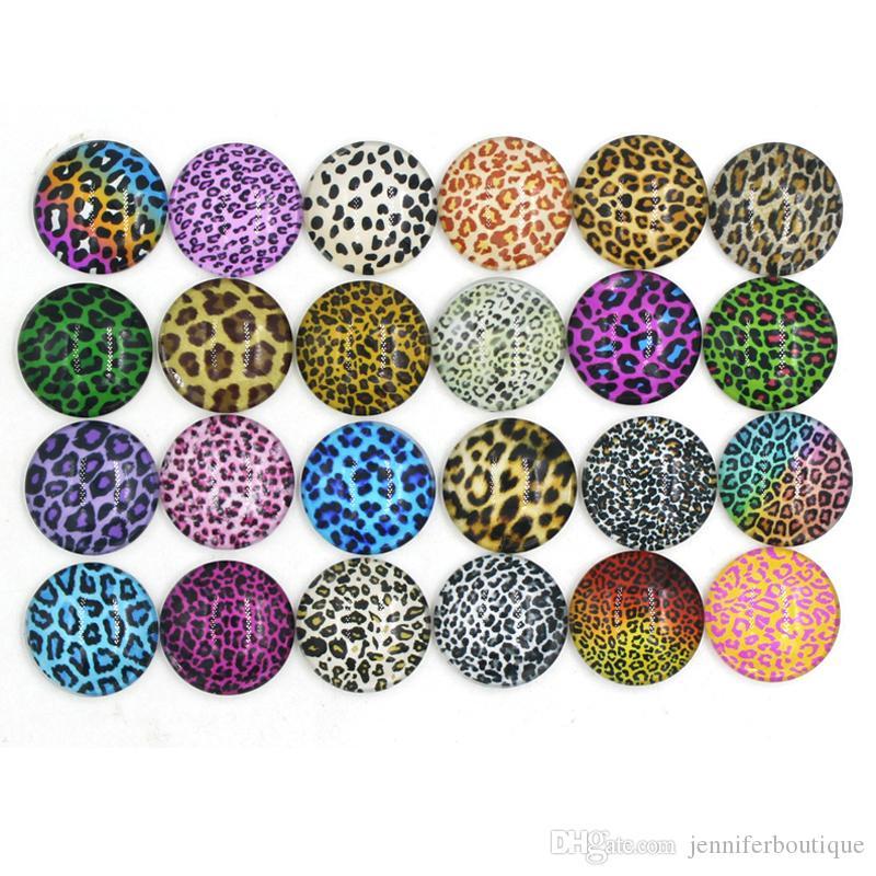 Shap Snap Jewelryブレスレットのための新しいwath wath warthepardプリントガラス石のボタンLeopardボタン