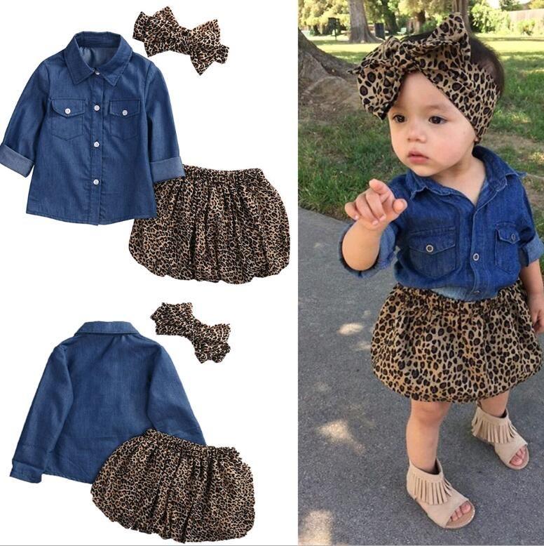 Baby Girls Clothes 3pcs Sets Niños Camisa vaquera Falda con estampado de leopardo y trajes de tocado para niños en forma 1-5 años