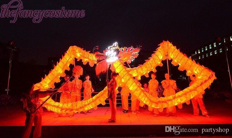 On Sale Yellow Dragon Dance 3 # 14m Länge Folk-Maskottchen-Kostüm orientalisches Kostüm Chinese Folk klassische Weihnachtsfeiertags-Party Rave Karneval