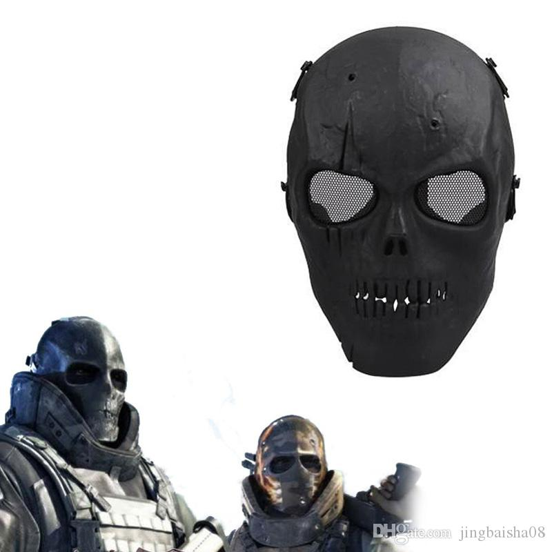 2016 Army Mesh Full Face Mask Skull Skeleton Airsoft Paintball BB Gun Game Protect Safety Mask