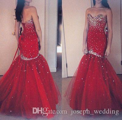 Vimans 2017 New Bling Bling Sweetheart Mermaid Tulle Lungo Prom Dress con Crystal Charme Red Evening Dress Lace Up