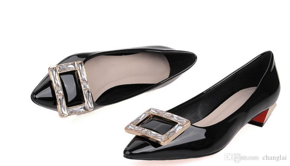 Spring soft shoes buckle diamond tip with coarse and low professional sexy women heel shoes
