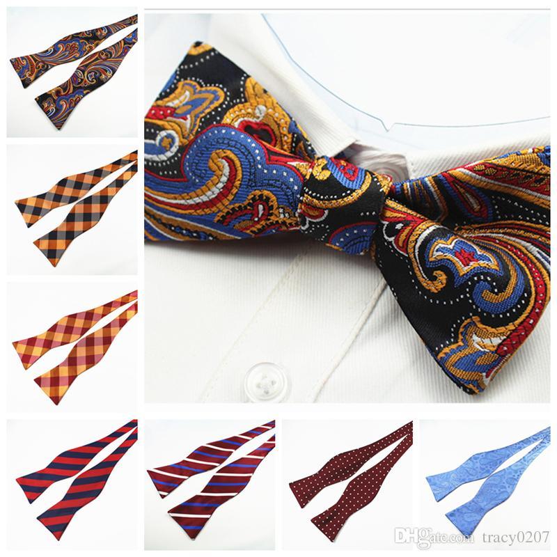 رجل الذاتي بابيون جديد 100٪ الحرير الفاخرة عادي ربطة ربطة الفراشات نويود بابيلون الأعمال الزفاف متعدد الألوان