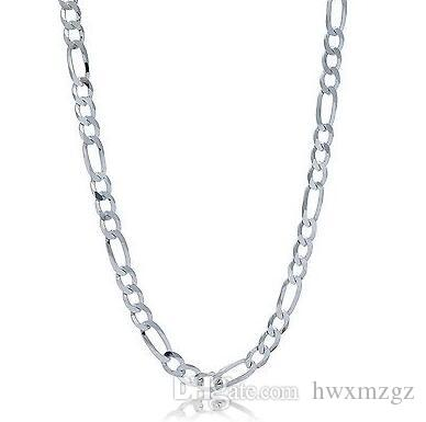 "Catena in argento sterling 925 Figaro Curb Chain / Collana 20 ""3 mm 4.9 grammi FIG080"