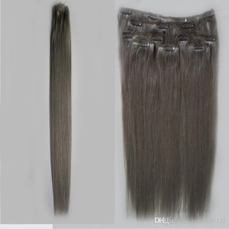 Human hair extensions blonde Gray hair extensions clip in 7pcs 100g brazilian virgin hair clip ins straight