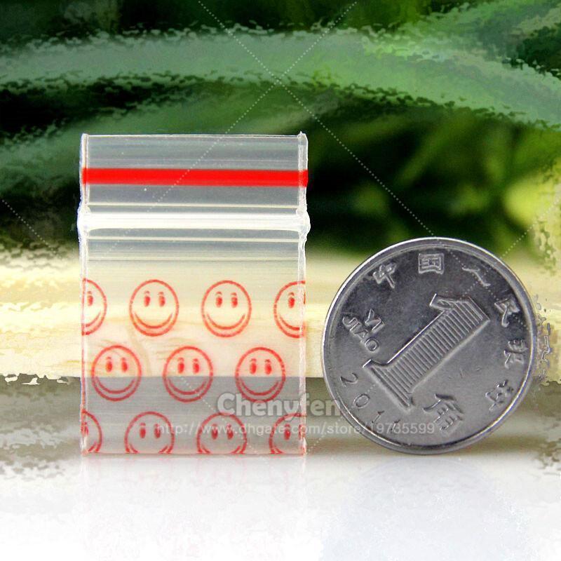 """Printing Smile Resealable Plastic Baggies 500pcs 0.8""""x1.1"""" Mini Ziplock Bags 2x2.8cm Reclosable Micro Cute Zip Lock Baggies 8mil"""