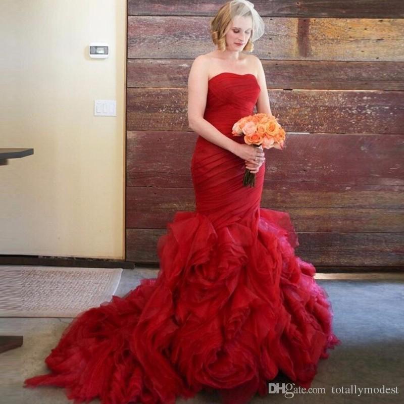 Abiti da sposa a sirena gotica rossa Vestido De Noiva Organza ruffle Sweetheart Country Western Bridal Gown Robe de Matrimonio