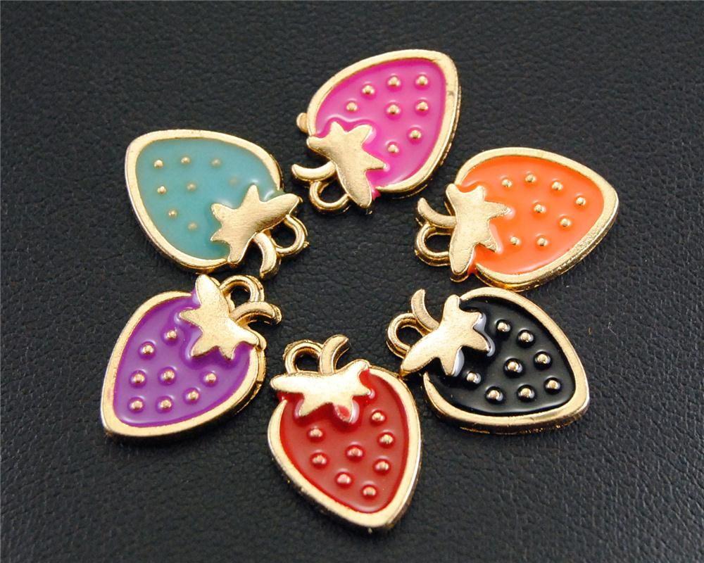 20pcs oro tono smalto bella fragola fascino ciondolo in metallo fai da te gioielli braccialetto collana risultati b01