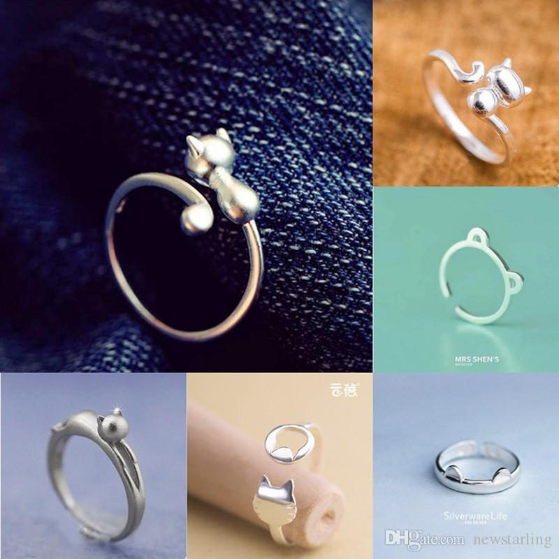 Women Silver Plated Jewelry Lovely Cat Open Finger Ring Adjustable Size Wedding