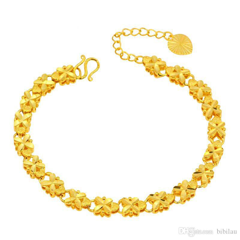 (234B) (215 * 6 mm) 24k d'or pur rempli de bijoux broderie fleur Bracelets pour les femmes de haute qualité Nickel sans plomb