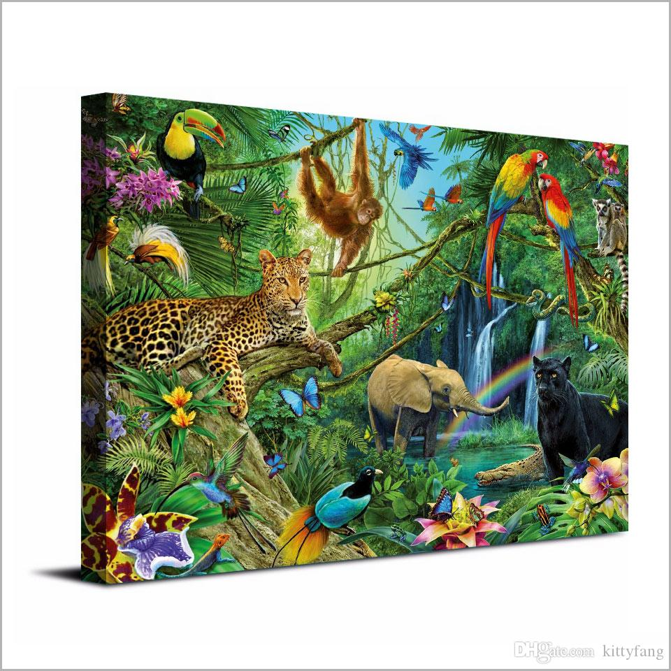 2019 Canvas Art Canvas Painting Animals Kingdom Jungle Hd Print Wall Art Home Decor Poster Picture For Living Room Xa1303c From Kittyfang 27 73