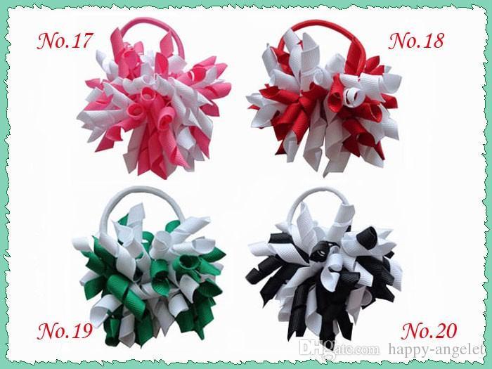 """3.5"""" Korker 50pcs cheveux queue de cheval cravates détenteurs streamer arcs de Corker clips Cheer Bows cheveux bouclés bobbles cheveux ruban accessoires PD006"""