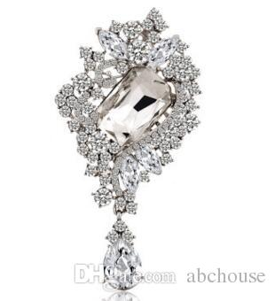 3.5 inch Square Glass Crystal and Rhinestones Water Drop Large Brooch Bride Wedding Brooches Fashion Crystal Pins 24 pcs free shipping