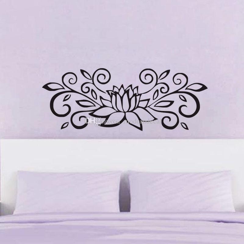 침실 큰 꽃 벽 스티커 벽 장식 비닐 예술 벽 전사술 가정 훈장을 위한 로터스 벽지