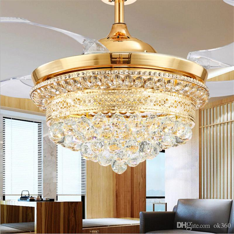 2019 Modern Invisible Blades Ceiling Fans Crystal Retractable Belt Pendant  Lamp With LED Lights Folding Ceiling Fan Dining Room Chandelier From Ok360,  ...