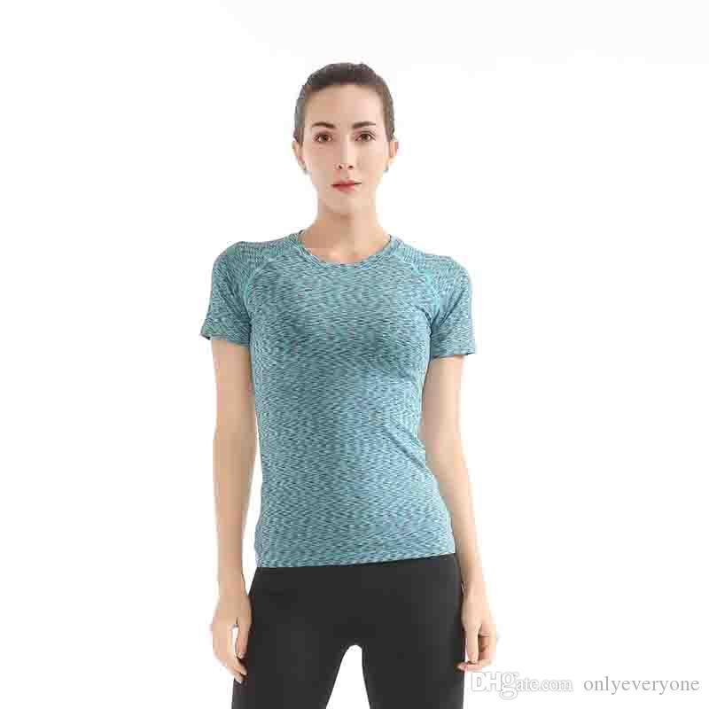 Camisa de Yoga para Mujer Running Tank Top Sudadera Wetclothe Drying Top Camisa de Yoga de Manga Corta de Compresión