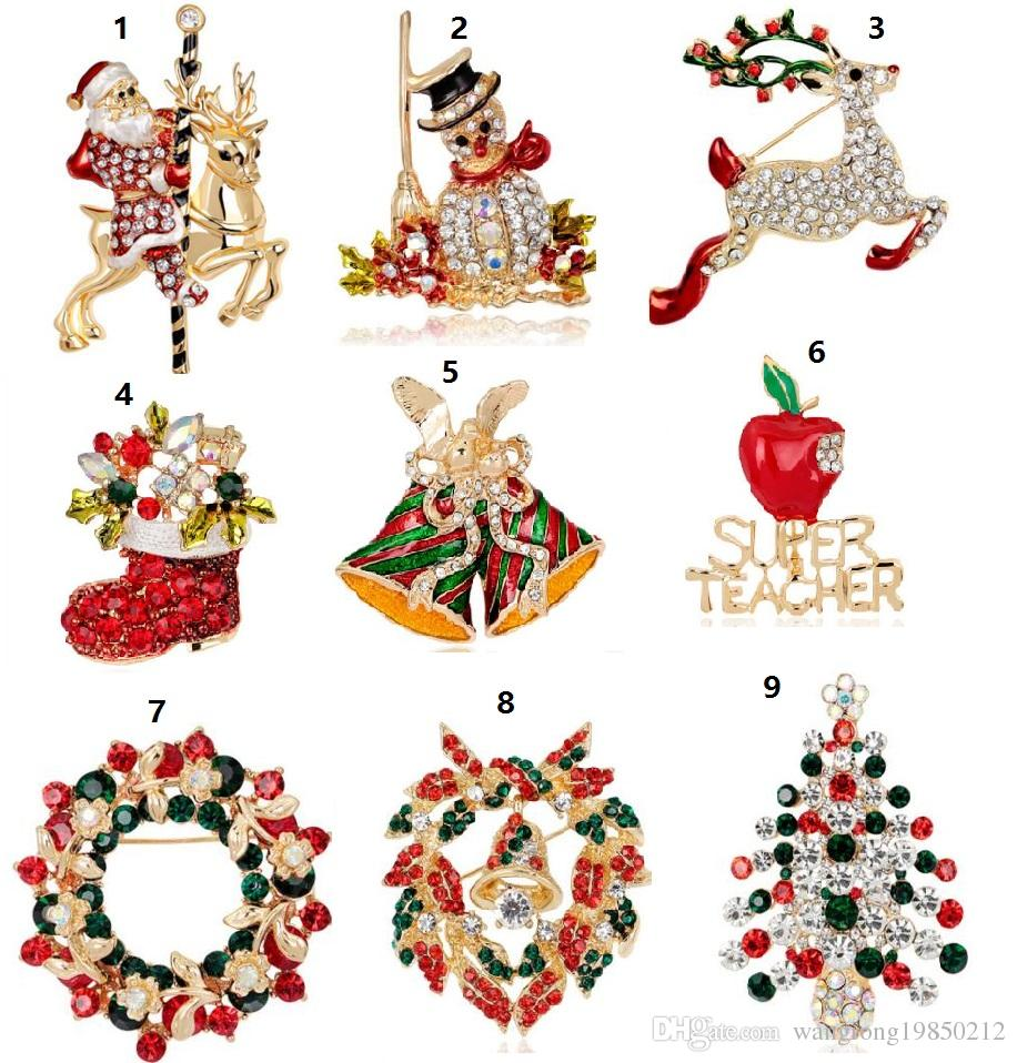 Christmas brooches pins Christmas tree on Christmas day Boots snowman corsages Santa sleigh bells penguin series 83