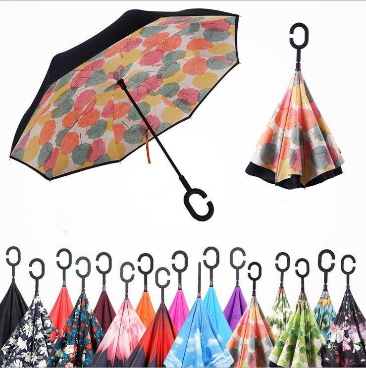 52 colores a prueba de viento reverso plegable doble capa invertida Chuva paraguas auto soporte de adentro hacia afuera protección contra la lluvia gancho en C manos para coche