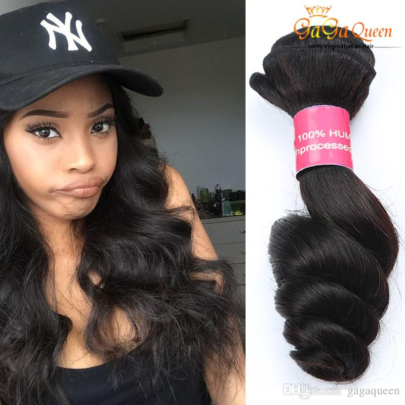 8A Unprocessed Virgin Brazilian Loose Wave Hair Double Weft Black Color Dyeable Human Hair Extensions 4pcs/lot Free Shipping Gaga Queen Hair