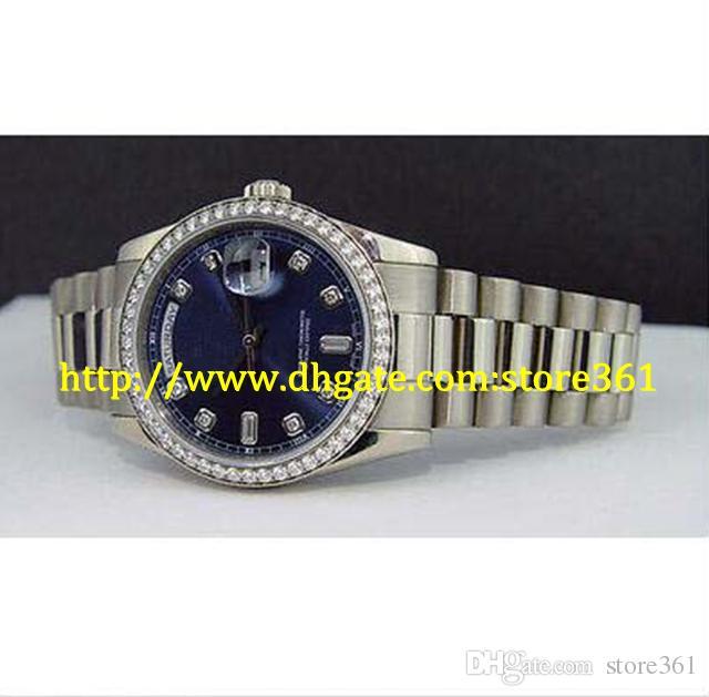 store361 nuevo llega Presidente de los hombres 18kt oro blanco Blue Diamond Dial - 118209