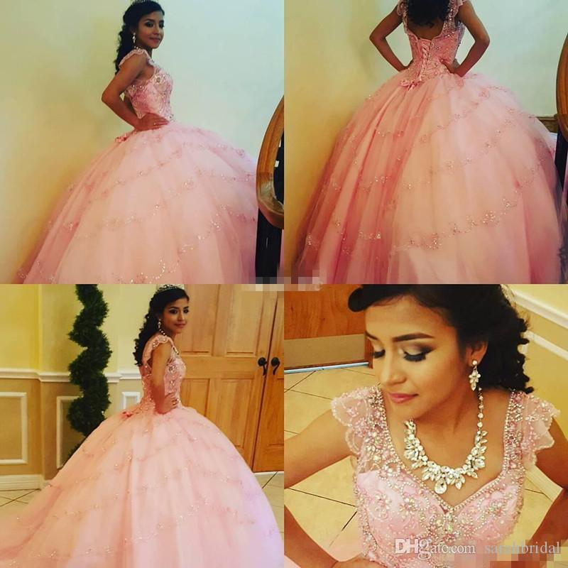 Beautiful Pink Girls Party Prom Gowns Ball Gown Cap Sleeve Sparkly Beading V-Neck Corset 2019 Custom Made Long Debutante Quinceanera Dresses