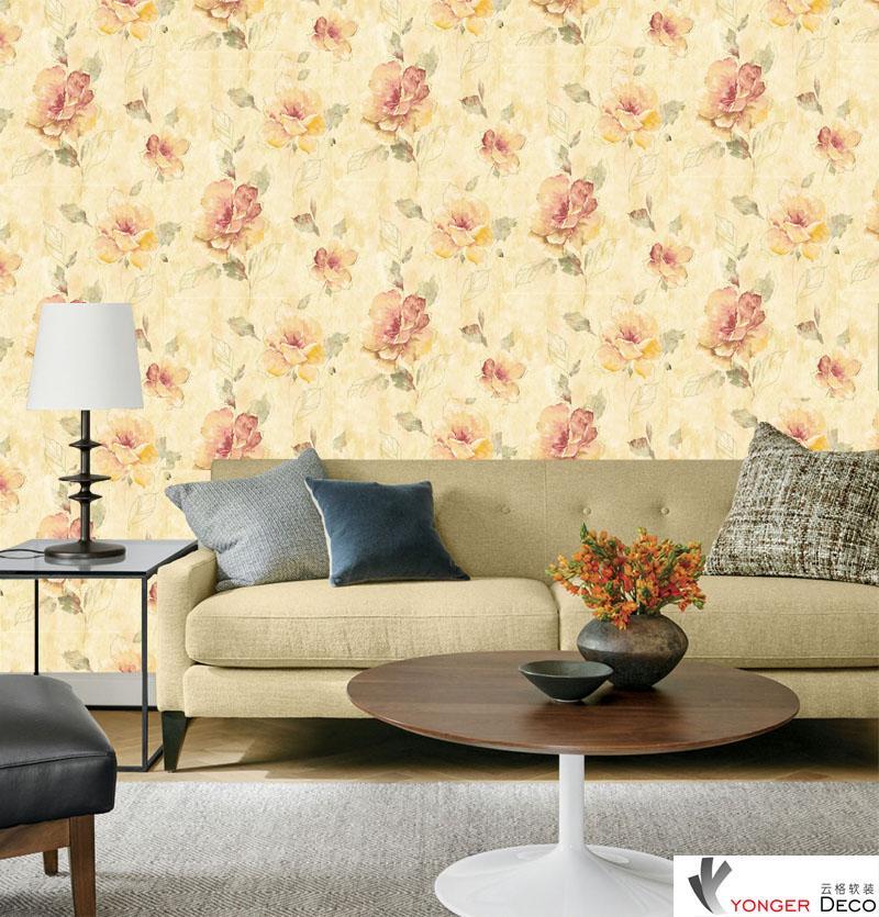 Wholesale PVC modern flower Wallpaper For Living Room Sofa ...