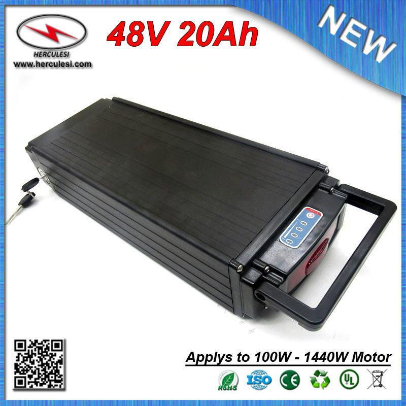 Shpping libero di alta sicurezza della bici elettrica della batteria 48V 20Ah Batteria al litio 1000W / posteriore Rack batteria con Fanale posteriore + Charger