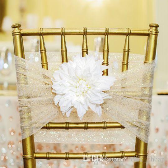 Custom Made 2017 Sparkly Tulle 3D Flower Chair Covers Vintage romantico telai della sedia Bella moda decorazioni di nozze