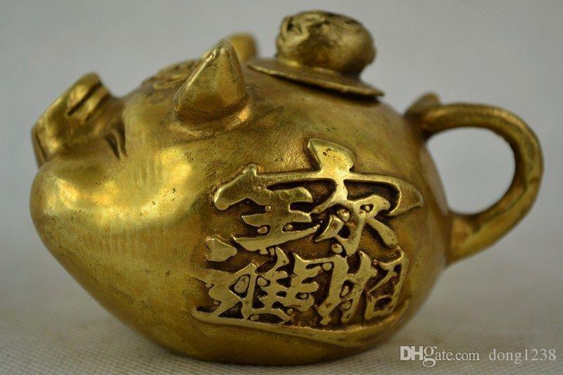 Eski Dekore İşi Bakır Carve Zengin Domuz Şekli Özel Şanslı Güzel Çay Potu