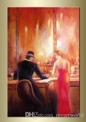 Candle Bar Männer und Frauen trinken, Leike Bar Leben, reine handgemalte Pop-Art-Ölgemälde hoher Qualität Canvas.customized Größe akzeptiert bestbi