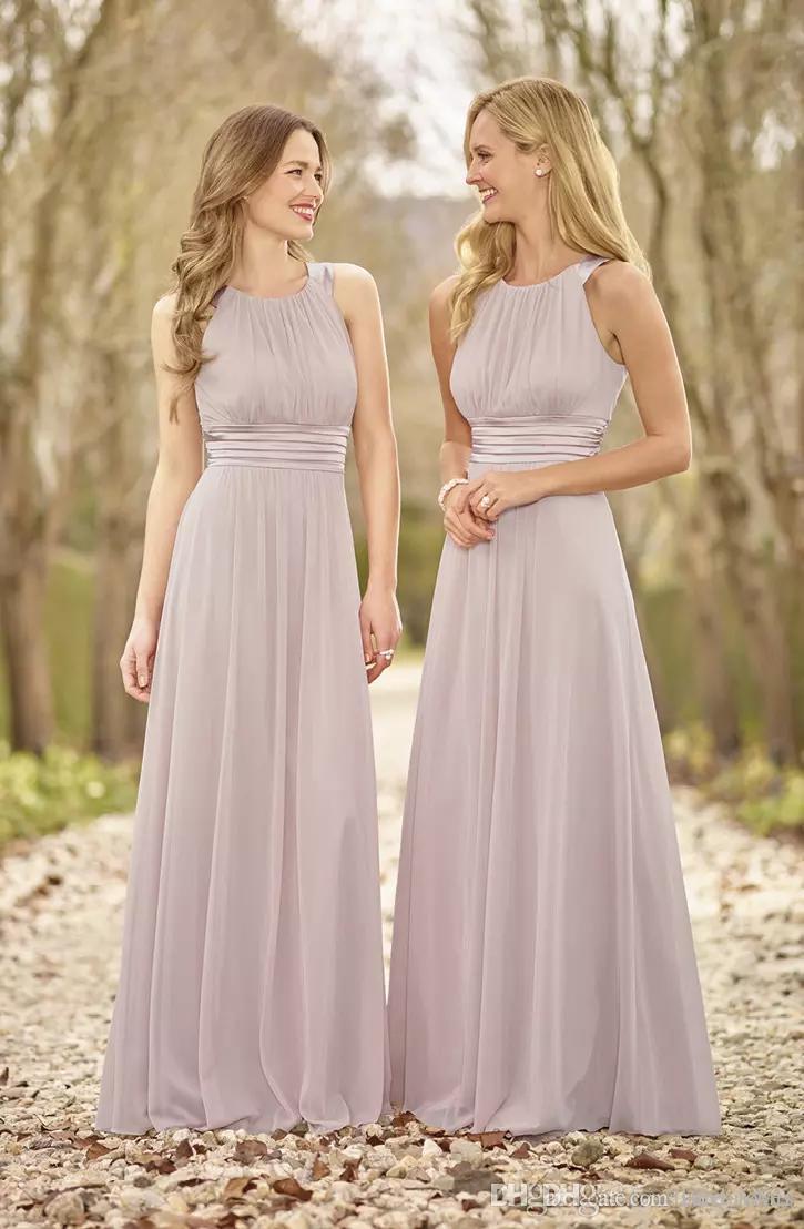 Großhandel Elegante Lange Brautjungfer Kleid 14 Eine Linie Bodenlangen  Chiffon Hochzeit Kleider Einfache Elegante Kleid Für Mädchen Von  Ture_lover,