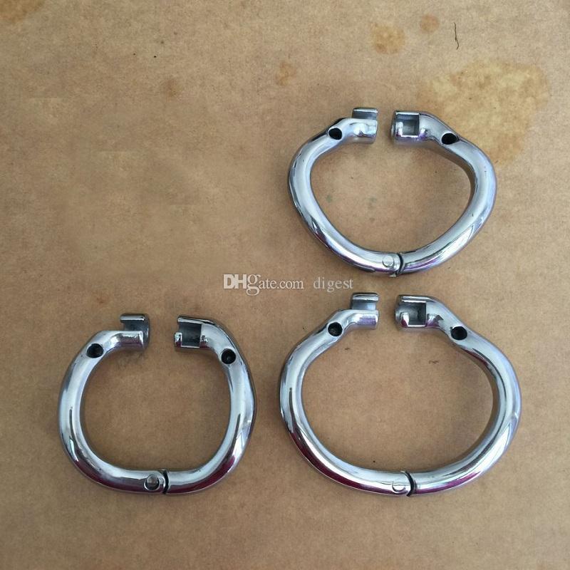 Más nuevo 4 Anillo de presión 36mm / 40mm / 45mm / 50mm Design de acero inoxidable Castidad de acero para dispositivos de castidad Tamaños Anillo Cause Metal Male Choosin Polsp