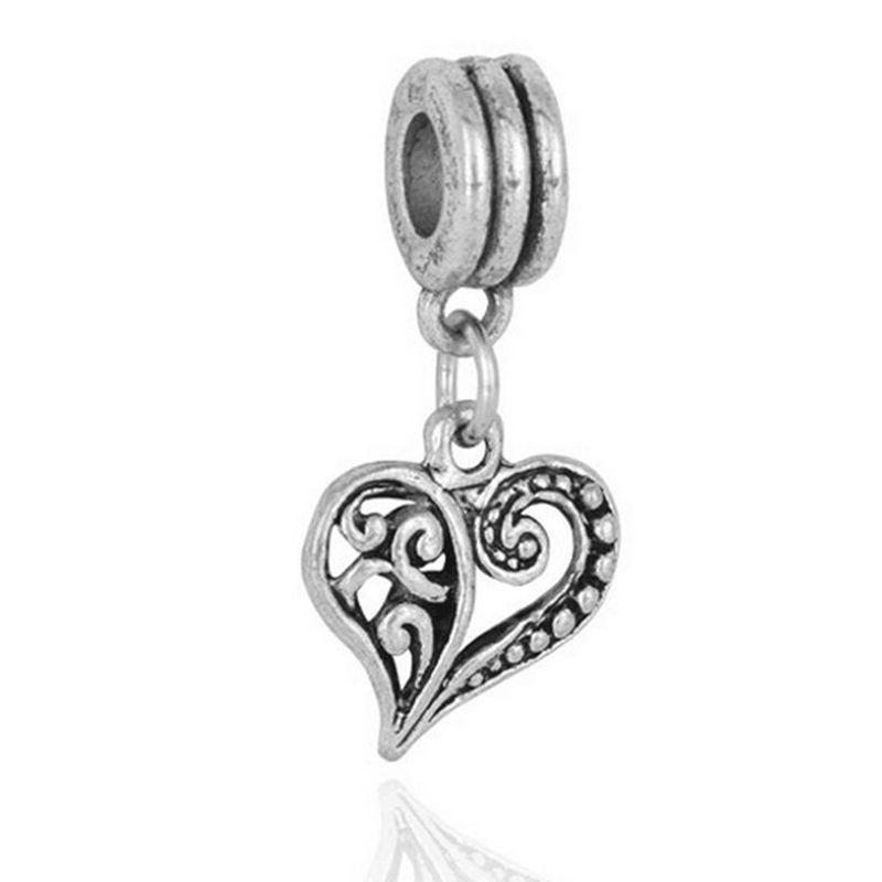 20 шт. / лот мода Тибет серебро Богемия полые сердца мотаться дизайн сплава металла DIY Шарм fit Европейский BraceletNecklace низкая цена PED139