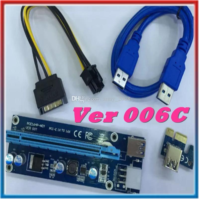 أحدث VER 006C Bitcoin Miner Riser PCI-E PCI-E Express 1X to 16X Graphics Riser USB 3.0 SATA to 6Pin Power Supply 60cm for Free DHL