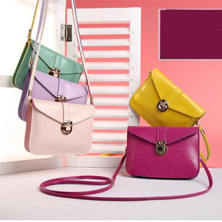 Vintage Women Cross Body PU Leather Messenger Bags Candy Color Shoulder Bag Phone Credit Cards Money Holder Casual Handbags Purse