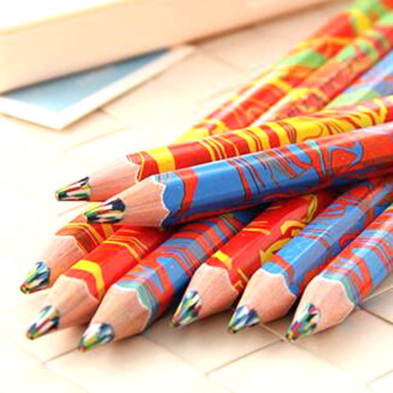 Envío Gratis 20 unids / lote Colores Mezclados Lápiz Arco Iris Lápices de Dibujo de Arte Escribiendo Bocetos Niños Graffiti Pluma Suministros Escolares