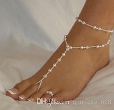 Europa und die Vereinigten Staaten neue heiße Mode einfache doppelte Schicht Strand Fußkettchen Perle Fußkettchen