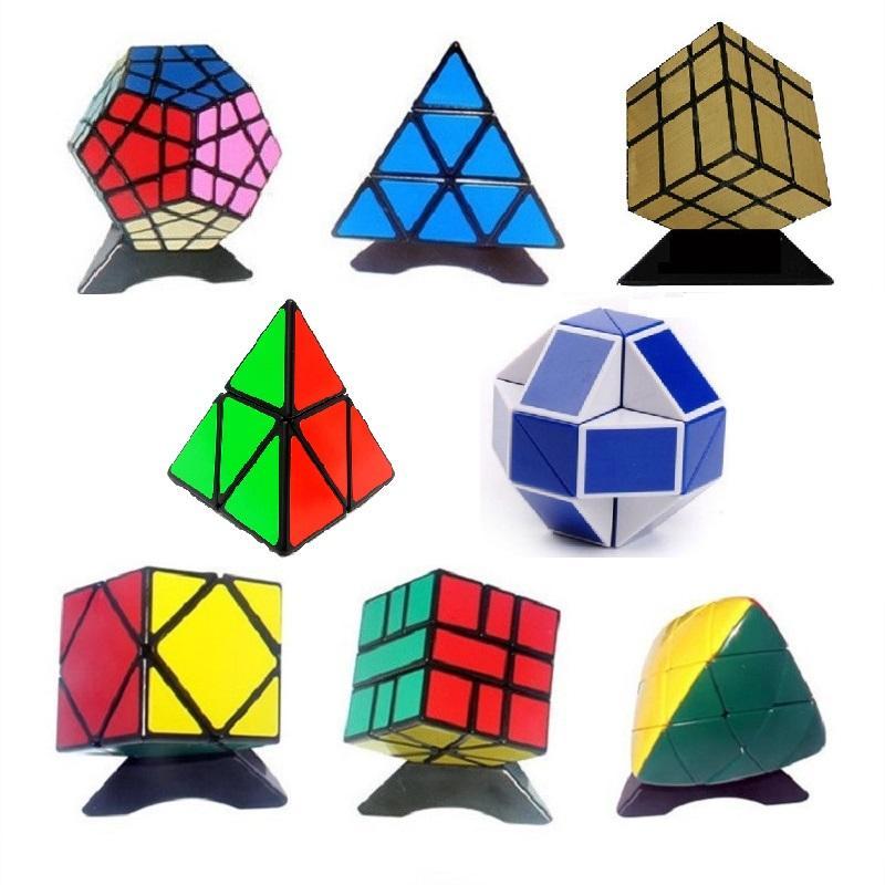 8pcs/Set Shengshou Black Strange-shape Magic Cube Set Speed Twist Puzzle Bundle Pack Cube PVC&Matte Stickers Cubo Magic Puzzle Cube
