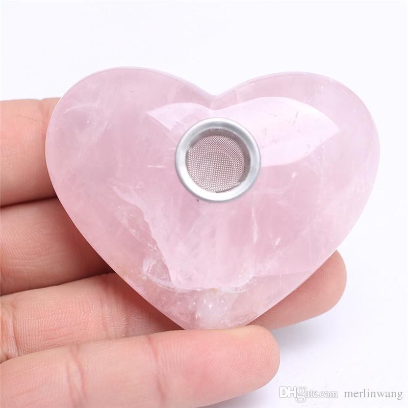 100-150g HJT Toptan Yeni Kristal Kalp Tütün boru Tumbled Pembe / Gül Kuvars Kristal Sigara Borular Ücretsiz Kargo