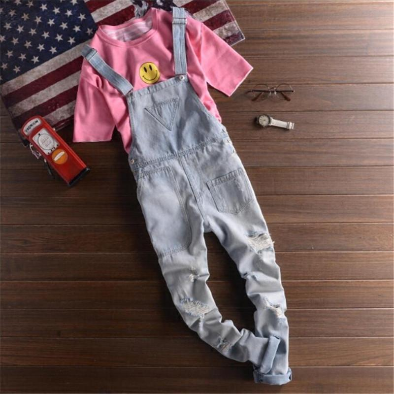 Atacado- 2016 nova moda rasgado Mens Denim Bib macacão Jeans marca roupa masculina Casual Distrressed Jumpsuit Jeans Pants For Man